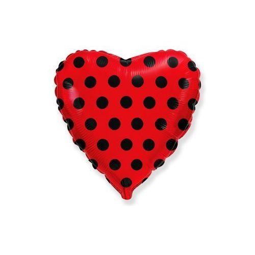 Balon foliowy serce czerwone w grochy - 46 cm - 1 szt. marki Flexmetal balloons