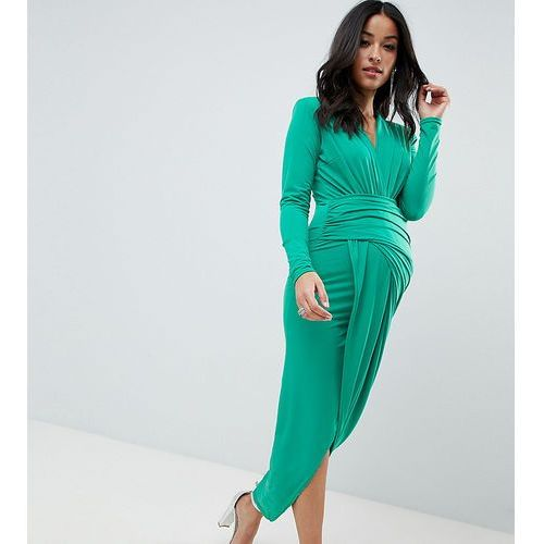 plunge front wrap maxi dress in green - green marki Queen bee