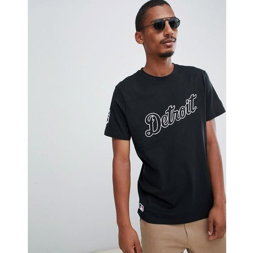 New era mlb detroit tigers scoop hem t-shirt with chest logo in black - black