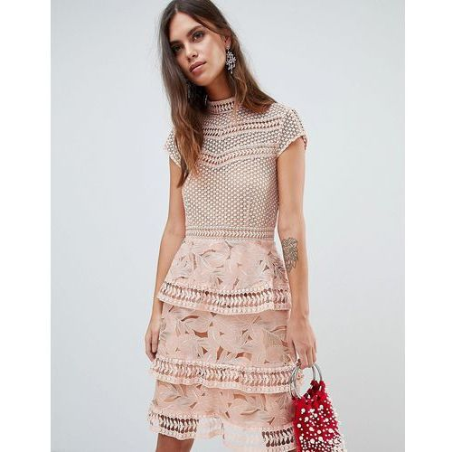 Y.A.S Dress With Tiered Lace Detailed Skirt - Pink, kolor różowy