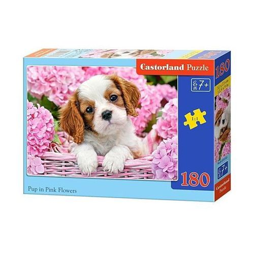 Puzzle 180 elementów Pup in Pink Flowers