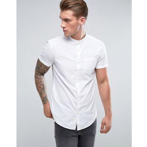 slim fit oxford shirt with grandad collar in white - white marki River island