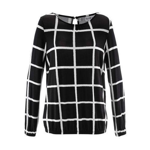 Shirt z elastycznym wykończeniem rękawów i dołu, długi rękaw, z kolekcji Maite Kelly bonprix czarno-biel wełny w kratę, kolor biały