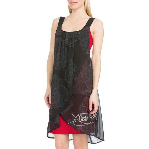 Desigual Blackville Dress Czarny Czerwony 42