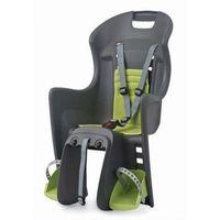 Fotelik rowerowy boodie rms szaro-zielony, moowanie na bagażnik marki Polisport
