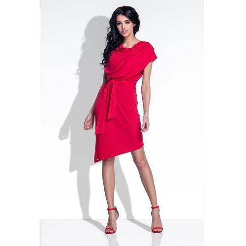 Czerwona Sukienka Elegancka Asymetryczna z Rozcięciem na Plecach, YF378re