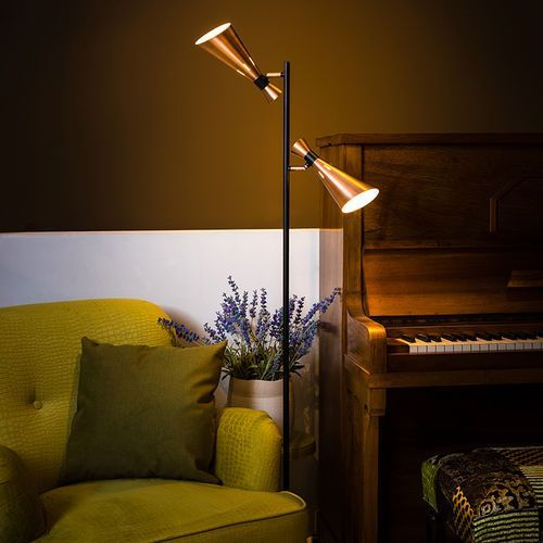 Eth Nowoczesna lampa podłogowa z 2 miedzianymi reflektorami - jesse