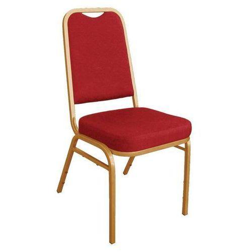 Krzesło Bankietowe z Kwadratowym Oparciem Czerwone (4 Sztuki), kolor czerwony