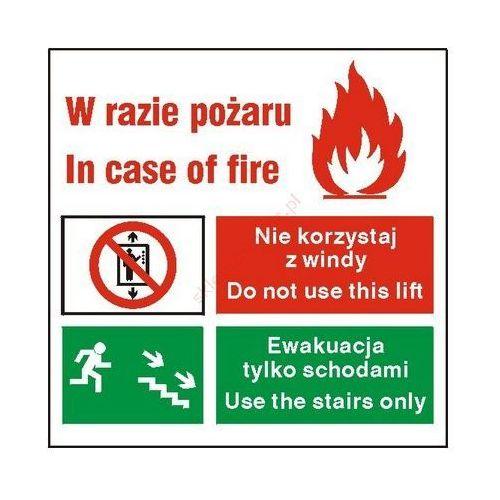 Techem Znak zakaz korzystania z windy w razie pożaru ff