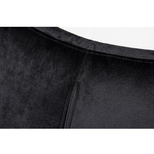 Fotel egg szeroki velvet black z podnóżkiem czarny.50 - welur, podstawa czarna marki King home