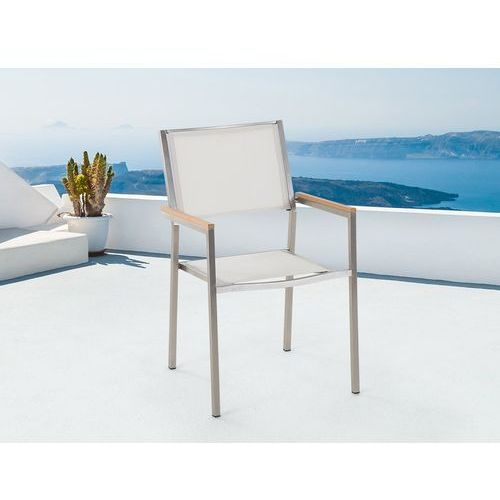 Beliani Krzesło do ogrodu tekstylne białe grosseto