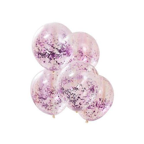 Balony przezroczyste z liliowym konfetti - 30 cm - 5 szt (5056275132354)