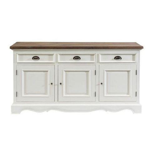 Dekoria komoda brighton 3 drzwi + 3 szuflady white&natural, 160 × 40 × 87 cm