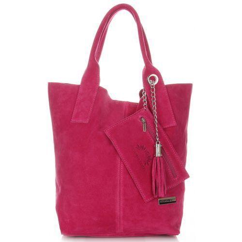 Vittoria Gotti Włoskie Torebki Skórzane typu ShopperBag wykonane z Wysokiej Jakości Zamszu Naturalnego Fuksja (kolory)