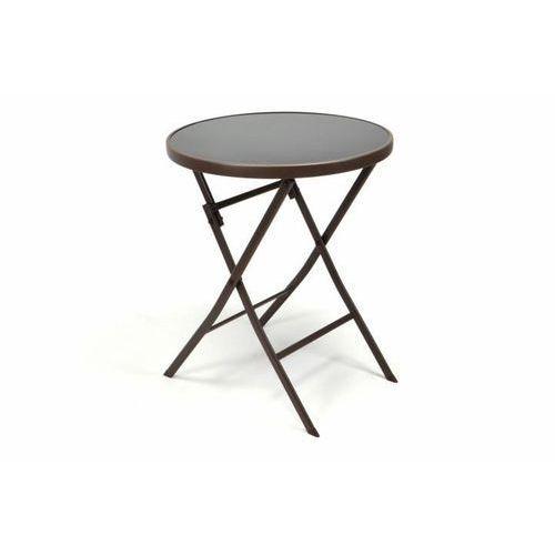 Ogrodowy bistro stolik ze składanym blatem szklanym - brązowy