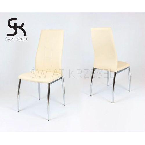 ks026 kremowe krzesło z ekoskóry na chromowanym stelażu - kremowy marki Sk design