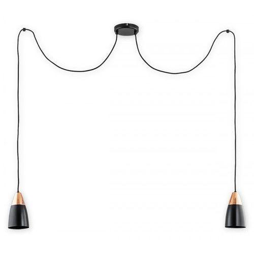 Lemir kala o2662 w2 cza lampa wisząca zwis pająk 2x60w e27 czarny mat / miedź