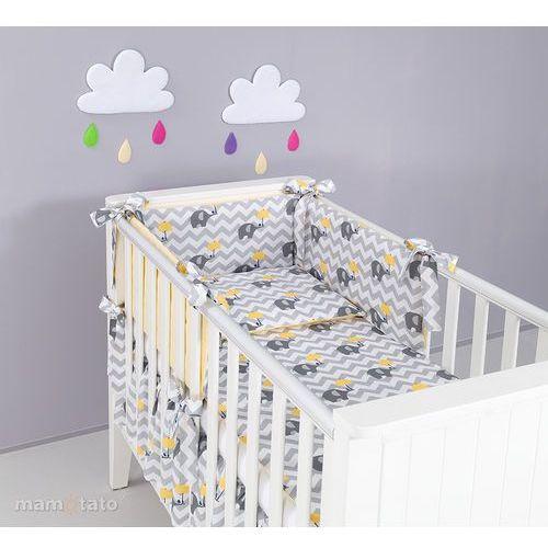 Mamo-tato ochraniacz rozbieralny do łóżeczka 70x140 słoń zygzak żółty / cytrynowy