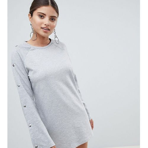 Boohoo Popper Sleeve Sweat Dress - Grey, kolor szary