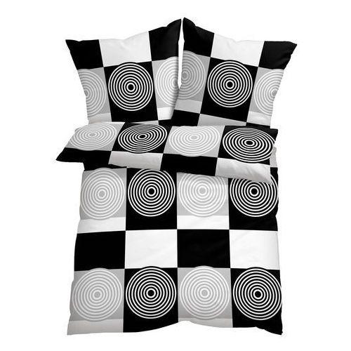 Bonprix Pościel w kratę i koła czarno-biały