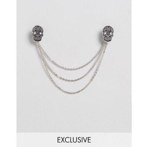 Noose & Monkey Skull Collar Tips & Chain In Black/Silver - Silver - sprawdź w wybranym sklepie