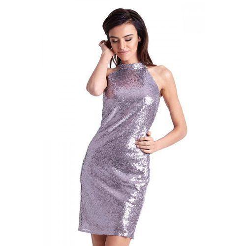 Cekinowa mini sukienka ołówkowa z halterem, Ivon, 36-42