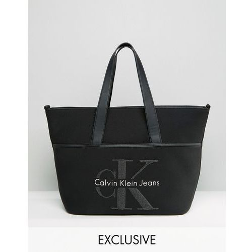 Calvin Klein Exclusive Re-Issue Large Tote Bag With Grey Shearling - Black z kategorii Pozostałe