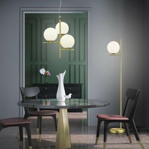 Trio Pure 302000308 lampa wisząca zwis 3x28W E14 mosiądz mat / biały, kolor Złoty