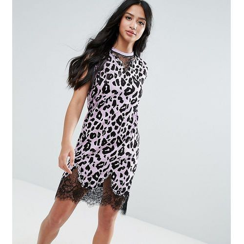 sleeveless t-shirt dress with lace inserts in leopard print - pink, Asos petite