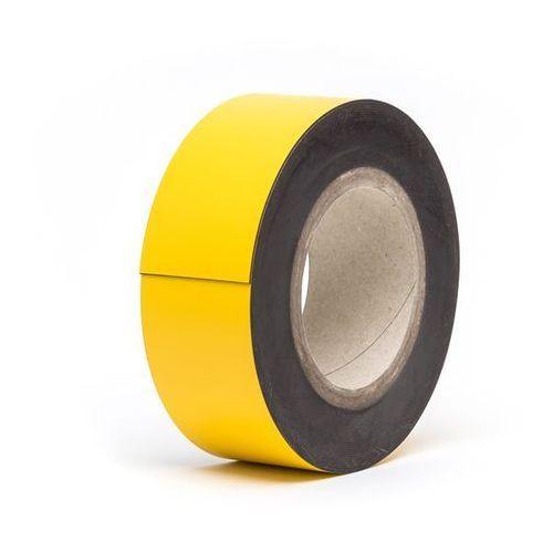 Magnetyczna tablica magazynowa, żółte, rolka, wys. 50 mm, dł. rolki 10 m. Zapewn