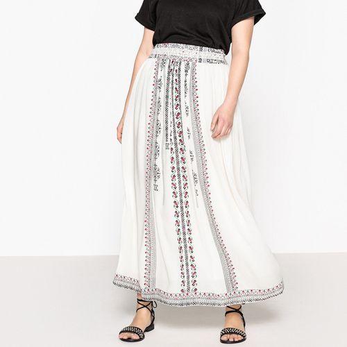 Superdługa rozkloszowana spódnica, etniczny nadruk, rozkloszowana