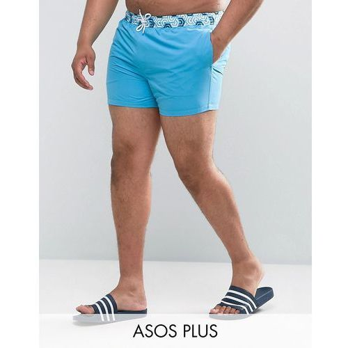 Asos  plus swim shorts with contrast geo print waistband in short length - blue
