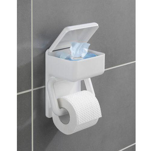 Wenko Uchwyt na papier toaletowy z pojemnikiem np. na mokre chusteczki, 2w1,