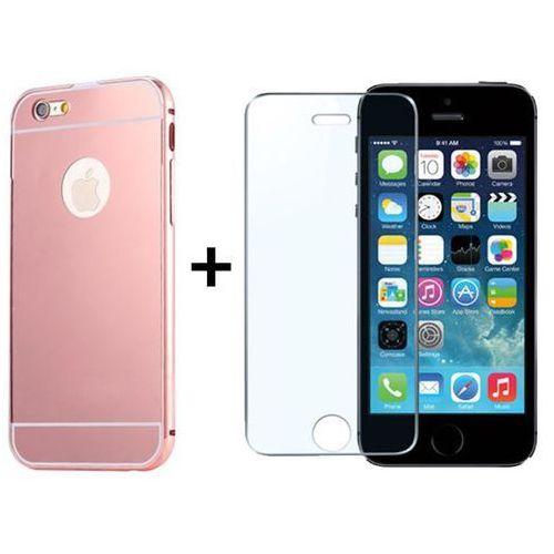 Zestaw | mirror bumper metal case różówy + szkło ochronne perfect glass | etui dla apple iphone 5 / 5s / 5se marki Mirror bumper / perfect glass