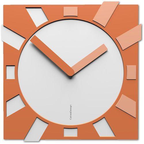 Kwadratowy zegar ścienny Jap-o CalleaDesign biały / brzoskwiniowy (10-023-22)