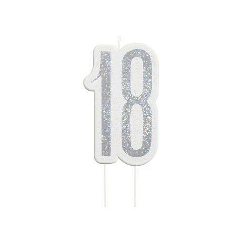 Brokatowa srebrna świeczka na 18-tke - 1 szt.