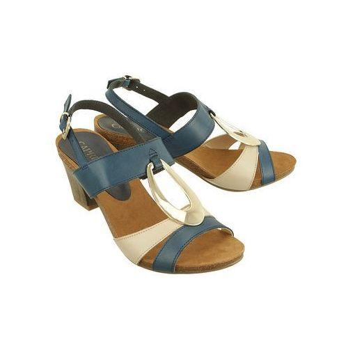 CAPRICE 28307-20 878 navy/beige, sandały damskie - Granatowy, kolor niebieski