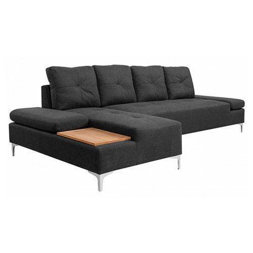 Vidaxl sofa w kształcie l, ciemnoszara, taca drewniana, xxl, 300 cm (8718475567158)