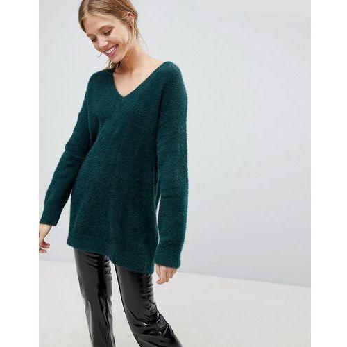 Bershka brushed v neck oversized jumper - green