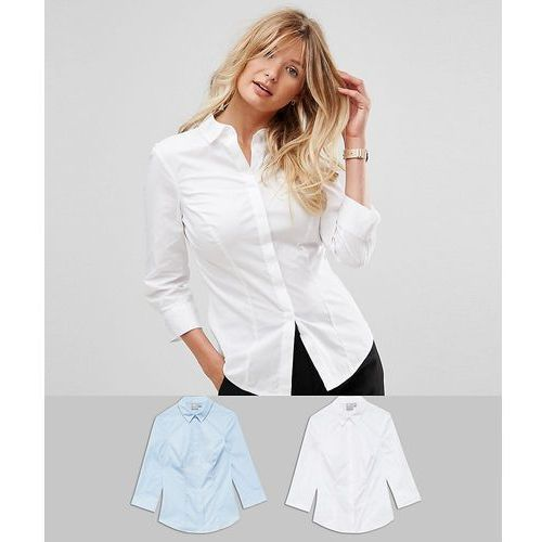 ASOS DESIGN fuller bust 3/4 sleeve shirt in stretch cotton 2 pack - Blue, bawełna