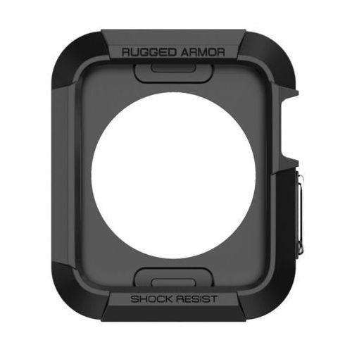 Obudowa Spigen Rugged Armor Apple Watch 42 mm Czarna + 2 folie ochronne - Czarny