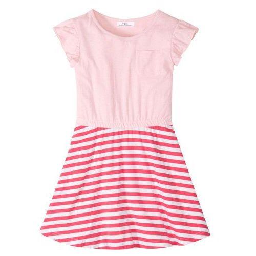Bonprix Sukienka z falbanami jasnoróżowy melanż - malinowo-biały
