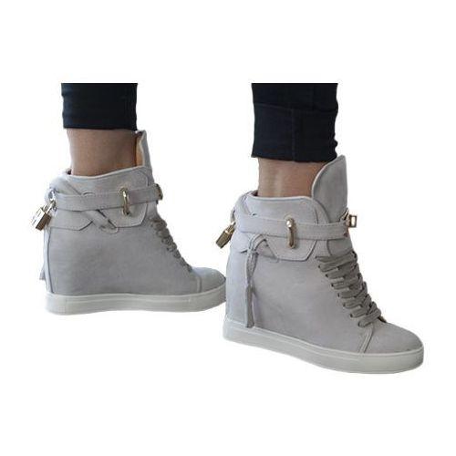 BOTKI VICES Sneakersy na koturnie SZARE KŁÓDKA, na