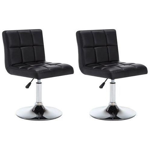 Vidaxl Krzesła obrotowe, 2 szt., sztuczna skóra, 50x43x85 cm, czarne