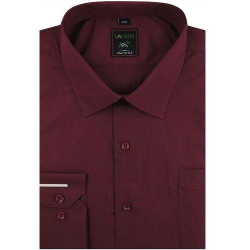 Koszula Męska Laviino gładka bordowa na długi rękaw w kroju REGULAR A179, kolor czerwony