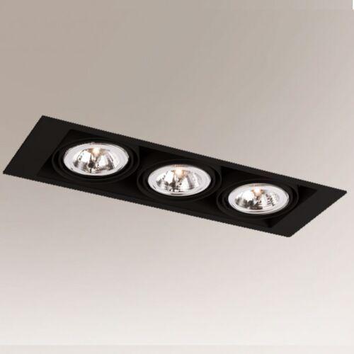Wpuszczana LAMPA sufitowa MUKO 7359 Shilo podtynkowa OPRAWA do łazienki prostokątna wpust czarny (5903689973595)