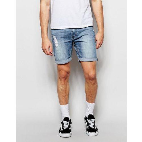 denim shorts slim fit high cut future distressed mid wash - blue, marki Cheap monday