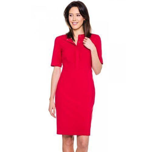 Czerwona sukienka z ozdobną pliską - EMOI