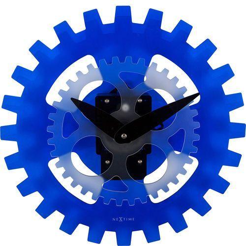 Nextime Zegar ścienny ruchome koła zębate moving gears 35 cm, niebieski (3241 bl)