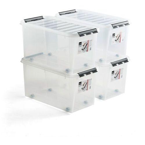 Pojemnik plastikowy lee z pokrywą, 70 l, 4 szt., 720x400x380 mm, przezroczysty marki Aj produkty